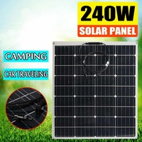 240W 18V Solar Panel Outdoor Portable Solar Panel Kit High Efficiency Flexible Solar Panel Monocrystalline for Outdoor Camping