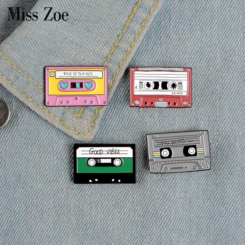 90's Music Tape Enamel Pin Vintage Nostalgic Best Song Brooches for Bag Clothes Lapel Pin Old-school Badge Jewelry Gift Friends