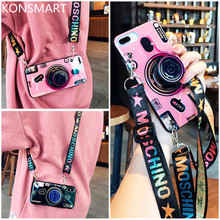 3D Cute Retro Camera Case For iPhone 11 Soft Silicone Back Cover Pro Max With Lanyard Stand Holder KONSMART