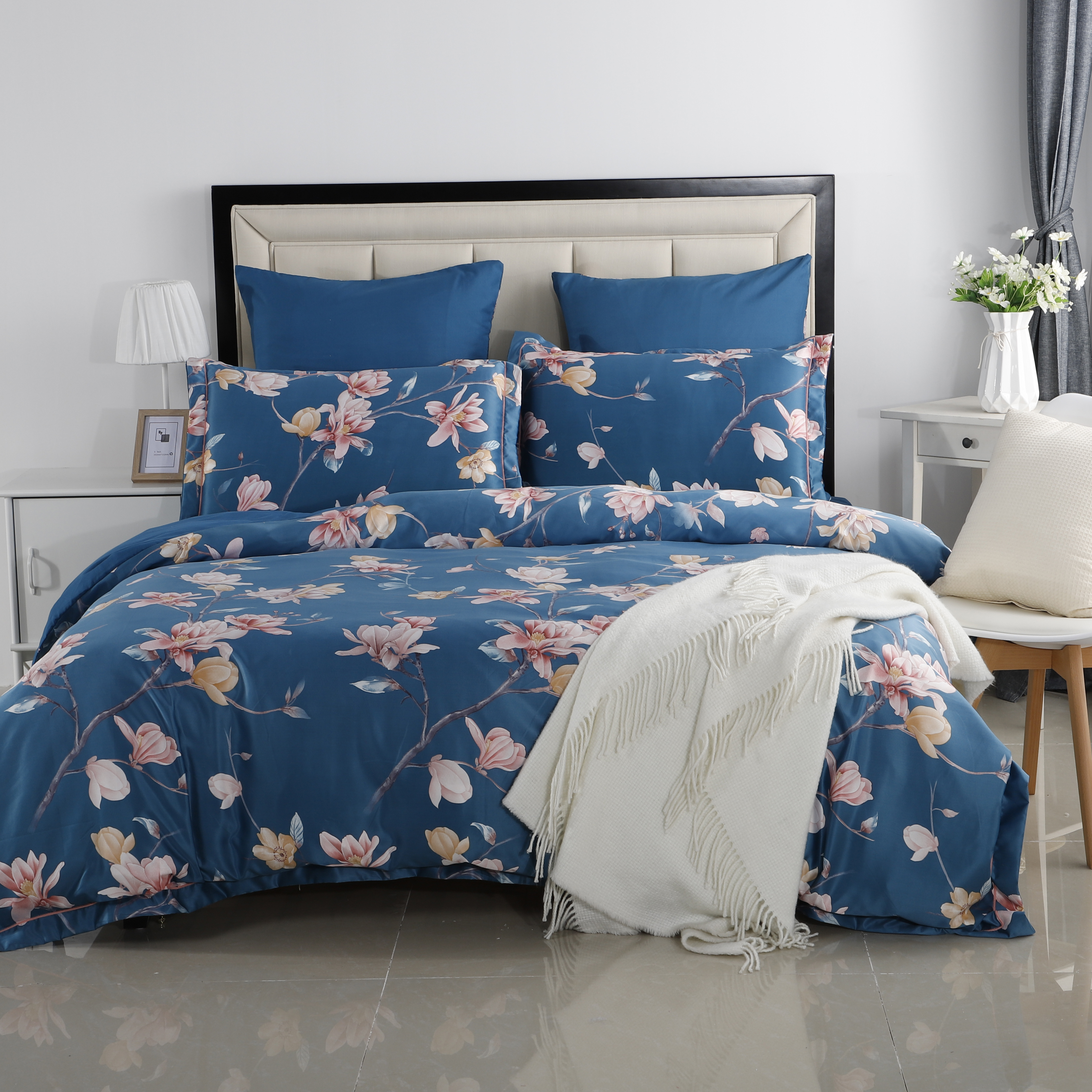 YAXINLAN luxury bedding set Bed linen Pure cotton Plant flowers Fashion Flower Patterns Bed sheet quilt cover pillowcase 6pcs