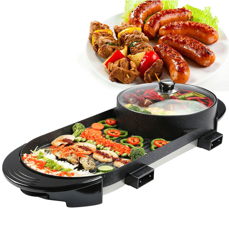 2in1 Hot Pot And Electric Grill Indoor Baking Flat Pan Double-flavor Hotpot Smokeless Grill Barbecue Flat Griddle Egg Non-stick