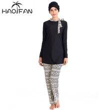 HAOFAN 2020 Modest Muslim Swimsuit Burkinis Full Cover Islamic Arab Long Sleeve Bearwear Full Face Hijab Swim Swimwear Plus Size
