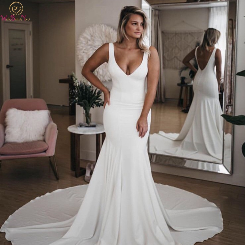 Simple Mermaid Wedding Dresses 2019 Sexy Deep V-Neck Sleeveless Boho Bridal Gowns White Ivory Backless Satin Vestidos De Noiva