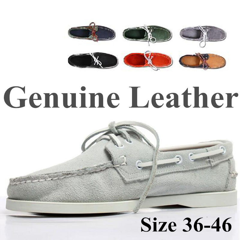 Men Women Genuine Leather Docksides Classic Homme Femme Boat Shoes,Plus Big Size Navy Black Brown Brand Flats Loafers 2019A047