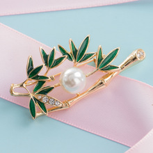 Fashion Korean New Green Bamboo Brooches Pins Pearl Men Suit Sweater Cardigan Clip Scarf Buckle Lapel Pin for Women Accessories funmor korean round lady brooches simulated pearl metal corsage circle scarf decoration hair sweater cloak buckle pins jewelry