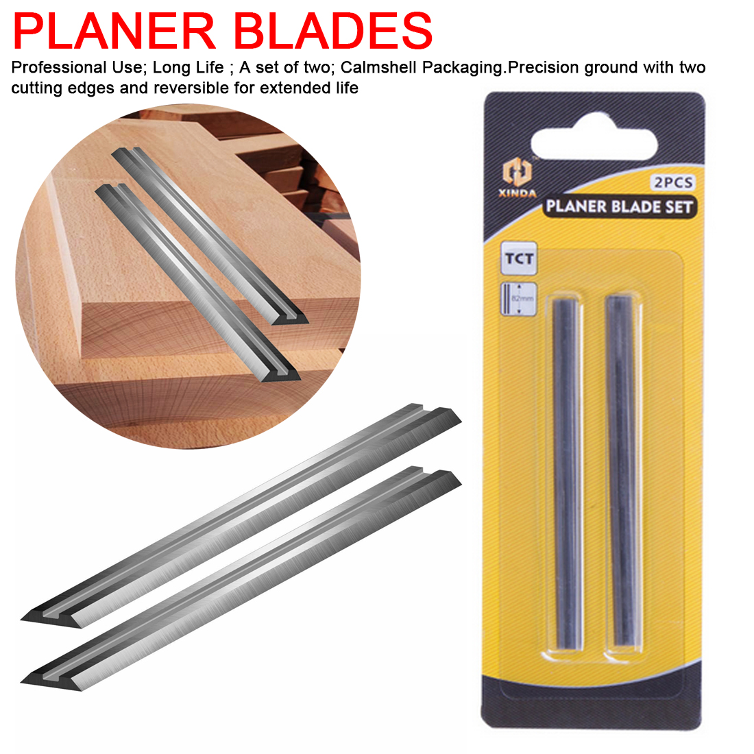 82mm Carbide Planer Blade 82x5.5x1.2mm Reversible Wood Planer Knife for Woodworking Machinery Parts