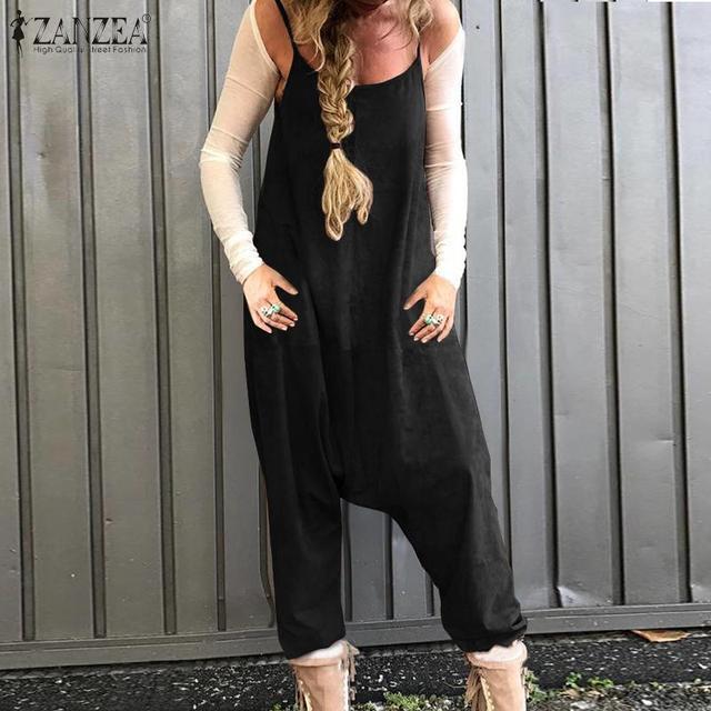 2020 verano sólido trajes sin mangas ZANZEA Vintage Drop-Crotch Jumpsuits mujeres Casual algodón Lino monos mujer mamelucos