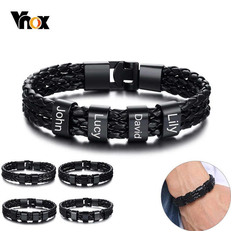 Vnox Personalize Family Name Bracelets For Men Black Layered Braided Leather With Stainless Steel Charms Bangle Custom BFF Jewel
