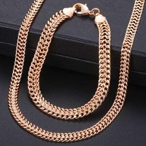 Men Women's Jewelry Set 585 Rose Gold Bracelet Necklace Set Double Curb Cuban Weaving Bismark Chain 2018 Wholesale Jewelry KCS04(Hong Kong,China)