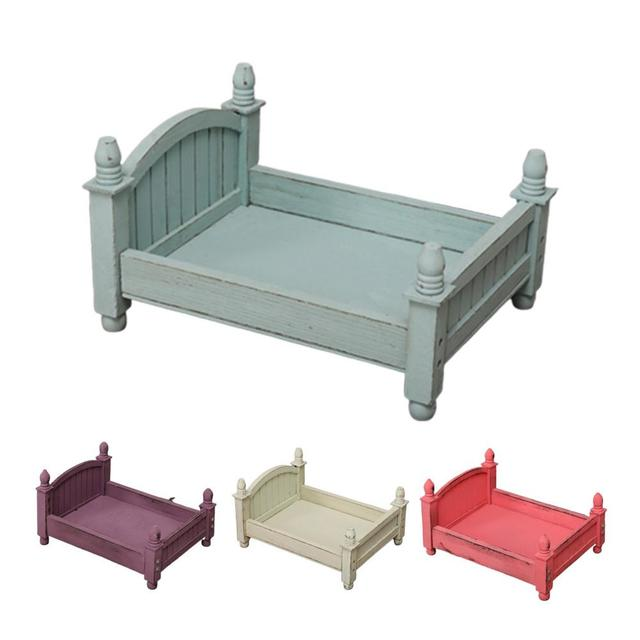4 Colors Baby Small Photography Bed New Photo Studio Photography Props Newborn Small Wooden Crib For Baby Boys Girls