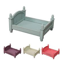 4 kolory dziecko małe fotografia łóżko nowe zdjęcie fotografia studyjna rekwizyty noworodka małe drewniane łóżeczko dla chłopców dziewcząt