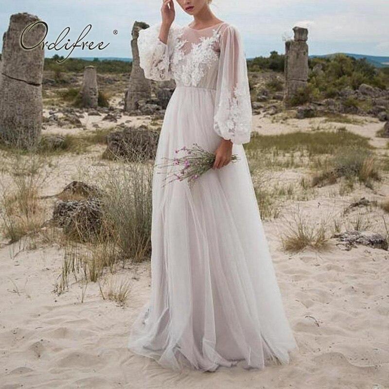 Ordifree 2020 Summer Women Long Tulle Dress Long Sleeve Embroidery White Maxi Tunic Beach Dress