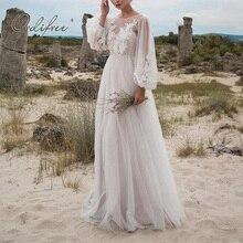 Ordifree 2020 Summer Women Long Tulle Dress Long Sleeve Embroidery White Maxi Tu