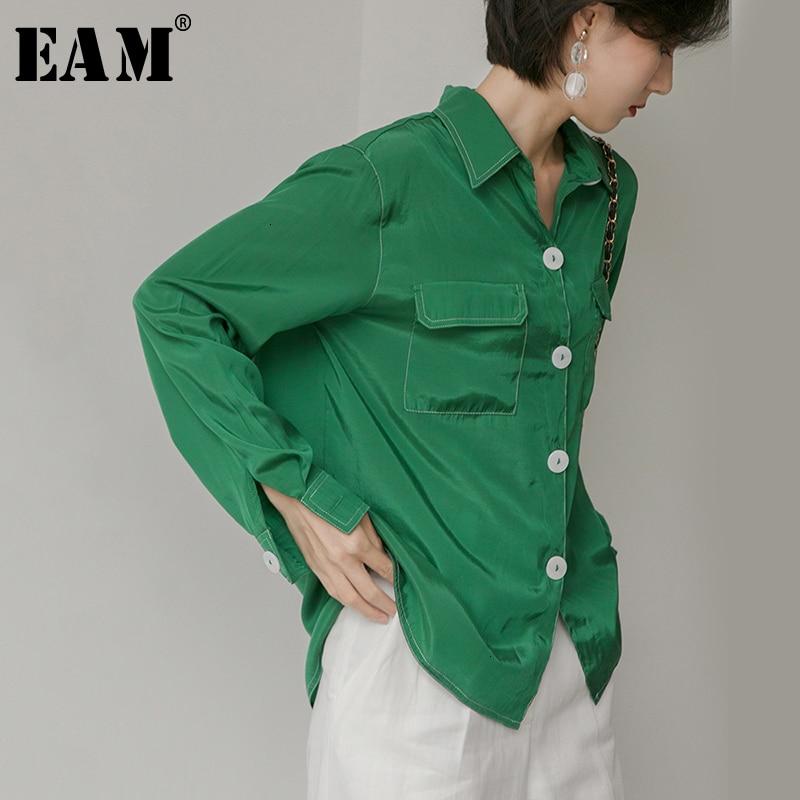 [EAM] Women Green Temperament Button Split Blouse New Lapel Long Sleeve Loose Fit Shirt Fashion Tide Spring Autumn 2019 1D586