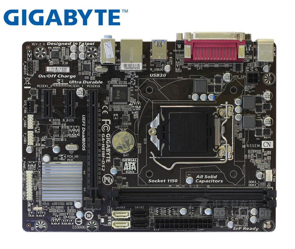 GIGABYTE GA-H81M-DS2 Desktop Motherboard H81 Socket LGA 1150 I3 I5 I7 DDR3 16G Micro-ATX Original Used Mainboard PC