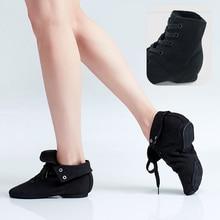 Новые черные парусиновые танцевальные туфли для взрослых, детские танцевальные Джазовые ботинки