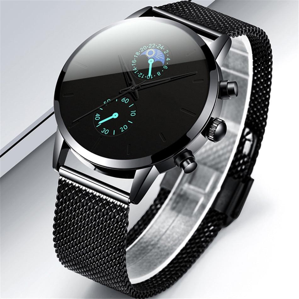 H4a9813011548423c8f316a345b82ea54g Fashion Mens Business Black Watches Luxury Stainless Steel leather Belt Watch Quartz Men Wrist Watch Relojes Hombre