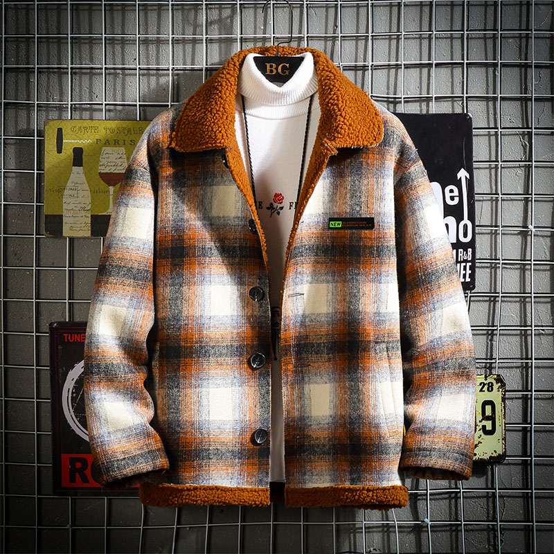 2019 New Style Winter Jacket Men And Coat Peffer Parka Men Clothes For Men  Winter Plaid Plus Velvet Thick Lambswool M-5XL