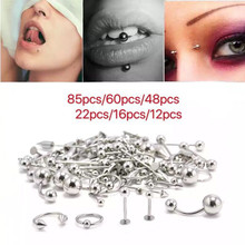 85Pcs tongue nail, nose nail mixed set stainless steel lip nail eyebrow nail nose ring, belly button ring piercing jewelry whole