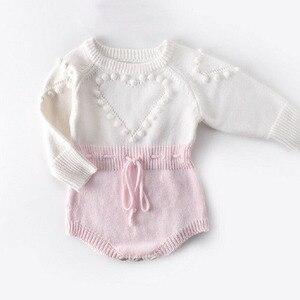 Осенне-зимняя одежда для маленьких девочек от 0 до 24 месяцев вязаный свитер для младенцев и детей комбинезон с длинными рукавами и круглым в...