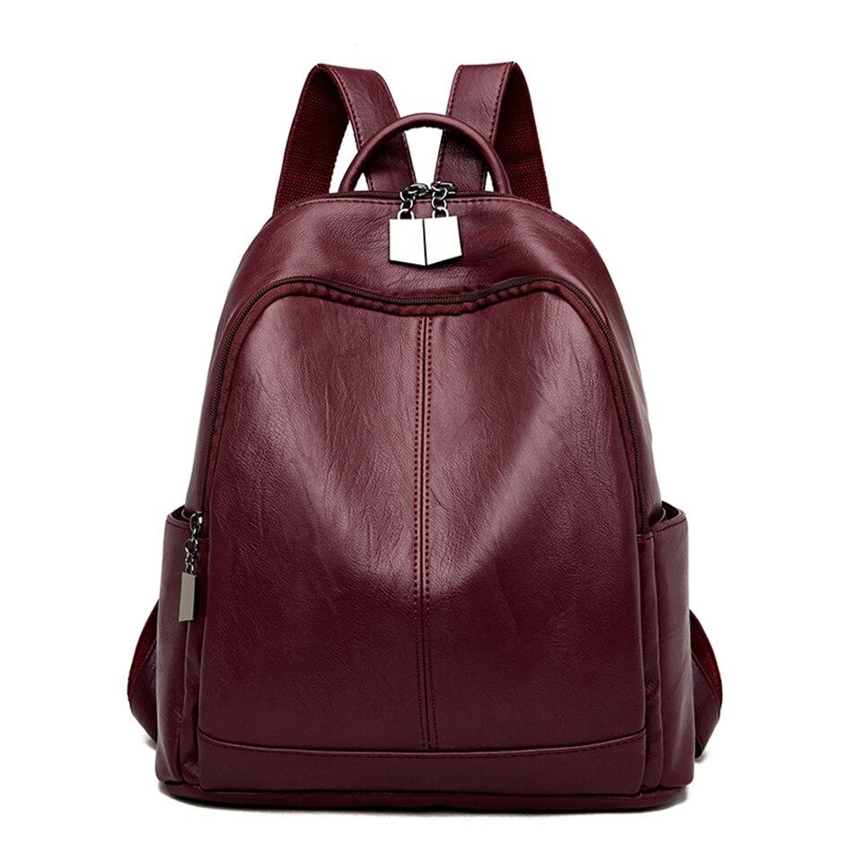 LONOOLISA Vintage Women Large Capacity Travel Backpacks High Quality Soft Leather Ladies Back Pack Mochila Feminina School Bags