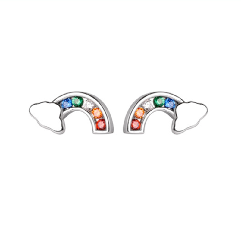 Girls Bird Colorful Ear Studs 925 Sterling Silver