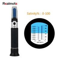 Salmotar salgado do calibre do halômetro da concentração 0-100% do refratômetro do medidor portátil da salinidade de realmote salinometer com atc