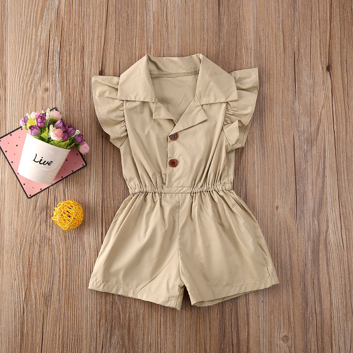 Pudcoco Newborn Baby Girl Clothes Solid Color Sleeveless Ruffle Button Romper Jumpsuit One-Piece Outfit Overalls Clothes