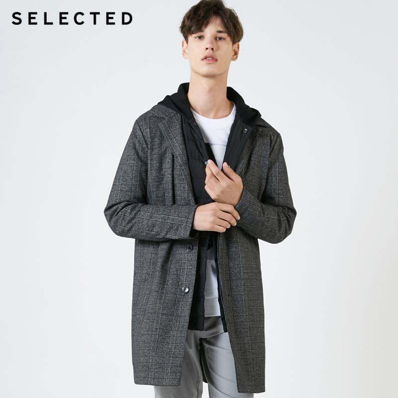 SELECTED Men's Detachable Plaid Parka Coat Hooded Outwear Winter Mid-length Down Jacket Coat S|419112518