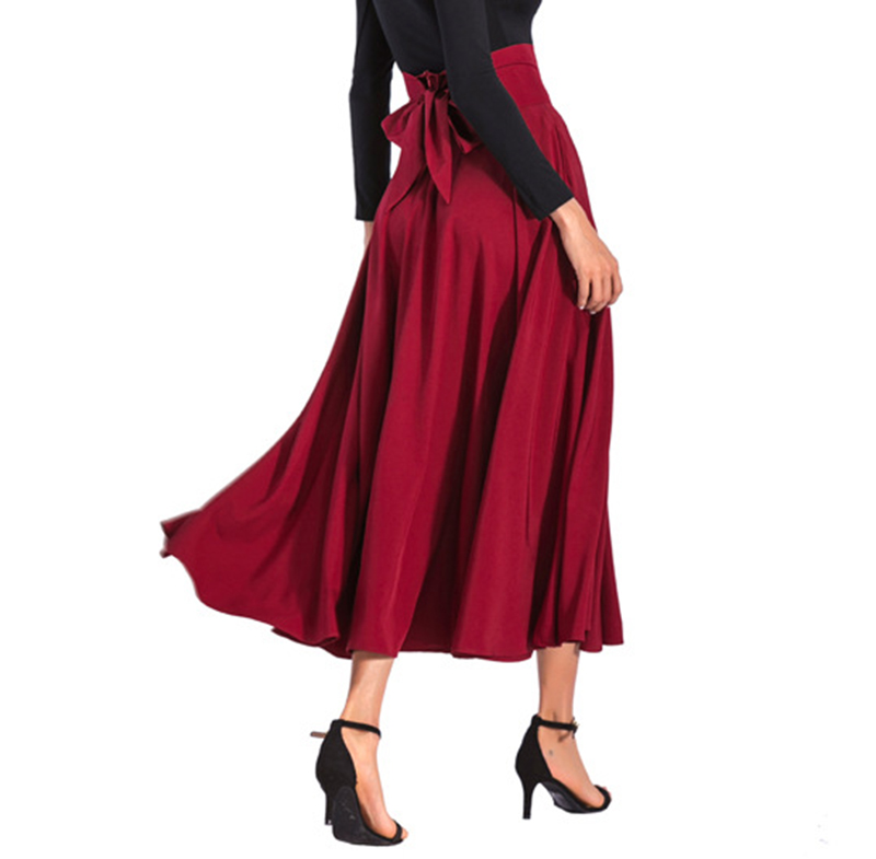 2020 New Fashion  Women Long Skirt Casual Spring  Summer Skirt womens Elegant Solid Bow-knot A-line Maxi Skirt Women Cothes (14)