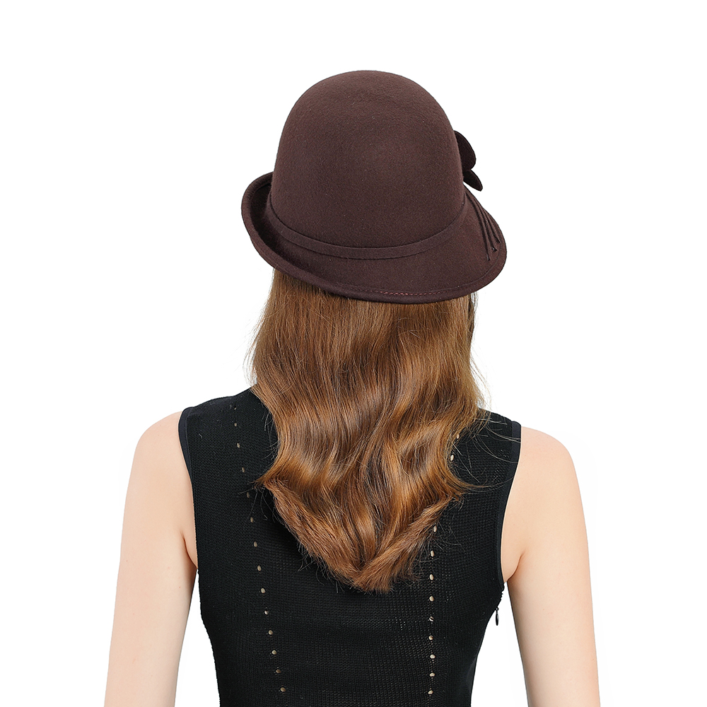 Fedoras Hat Brown Fascinator For Women Elegant Church Wool Headpiece Wedding Fashion Headwear Lady Party Formal Hair Accessories in Women 39 s Fedoras from Apparel Accessories