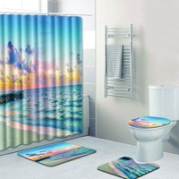 4PCS Sea Style Non Slip Toilet Polyester Cover Mat Set Bathroom Shower Curtain bathroom accessories Multicolor Textiles For Home