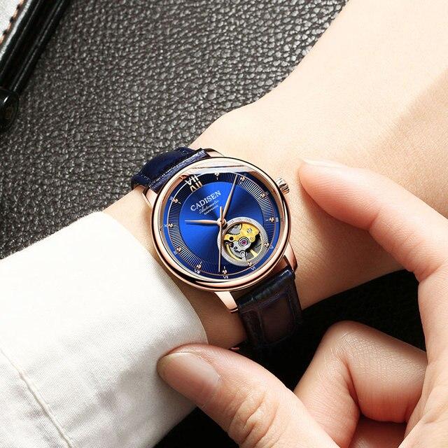 Reloj de pulsera de cuero de marca de lujo para parejas ultrafino impermeable para negocios