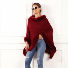 Осень-зима, Женский Повседневный свитер с круглым вырезом, без рукавов, западный стиль, шаль, накидка, меховой воротник, одноцветные свитера, Новинка