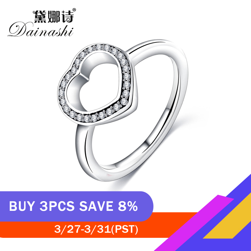 Dainashi 925 Silver Hollow Heart Exquisite AAA Shining Zircon Rings With Party Wedding Elegant Jewelry Lover Rings For Women