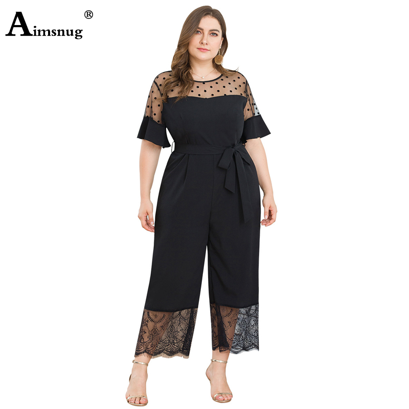 Aimsnug Large Size 3xl 4xl Solid Black Mesh Wave Point Stitching Lace Lace-up Autumn New 2019 Casual Womens Wide Leg Jumpsuits