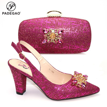 Hot Selling Shoes and Bag To Match Fuchsia Color Italian Sandals and Matching Purse Bag for Wedding with Crystal