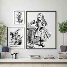 Alice no país das maravilhas arte impressão parede imagem, vintage mão desenhada alice no país das maravilhas cartaz da lona cartaz meninas decoração do quarto