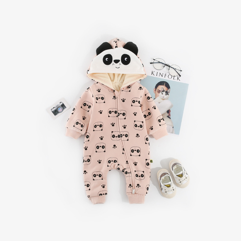 Double Layer Thick Warm Romper Cartoon Baby Onesie Autumn And Winter Plus Velvet 18 New Style Panda Crawling Clothes Baby Hooded