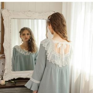 Ночная одежда принцессы, осень 2019, одежда для сна в горошек, кружевное дамское Ночное платье, винтажная ночная рубашка, ночная сорочка в викт...
