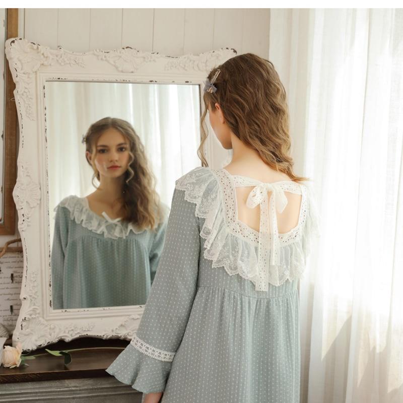 2019 Autumn Princess Night Wear Polka Dot Sleep Wear Lace Ladies Night Dress Vintage Nightgowns Victorian Nightgown Dress Night
