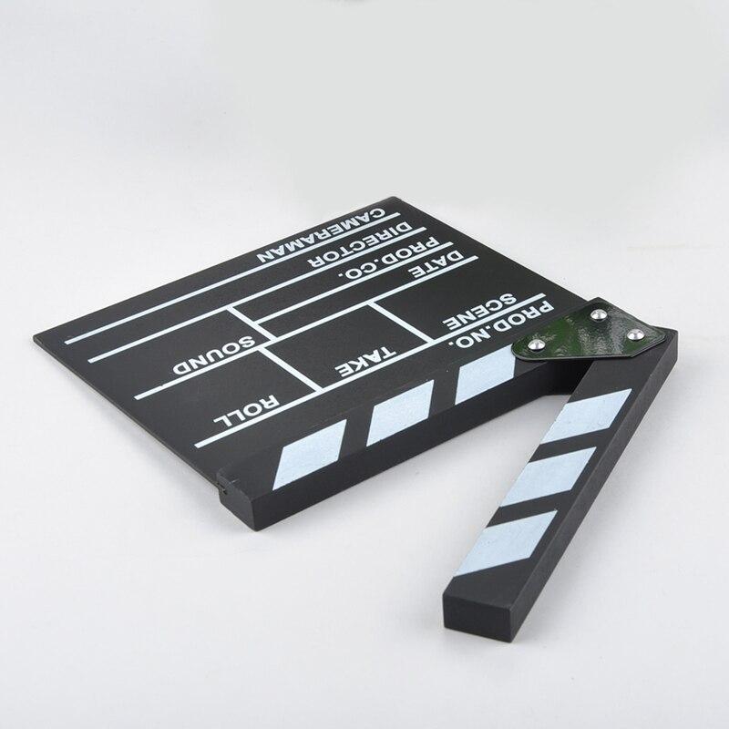 Black Clapper Director Dry Erase TV Film Movie Clapper Board Slate Video Acrylic Clapboard with Color Sticks Handmade Cut Prop