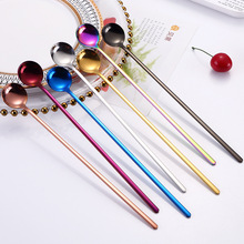 1pcs 24cm Long Handled Stainless Steel Coffee Spoon Tableware Ice Cream Dessert Tea Table for Picnic Kitchen Accessories