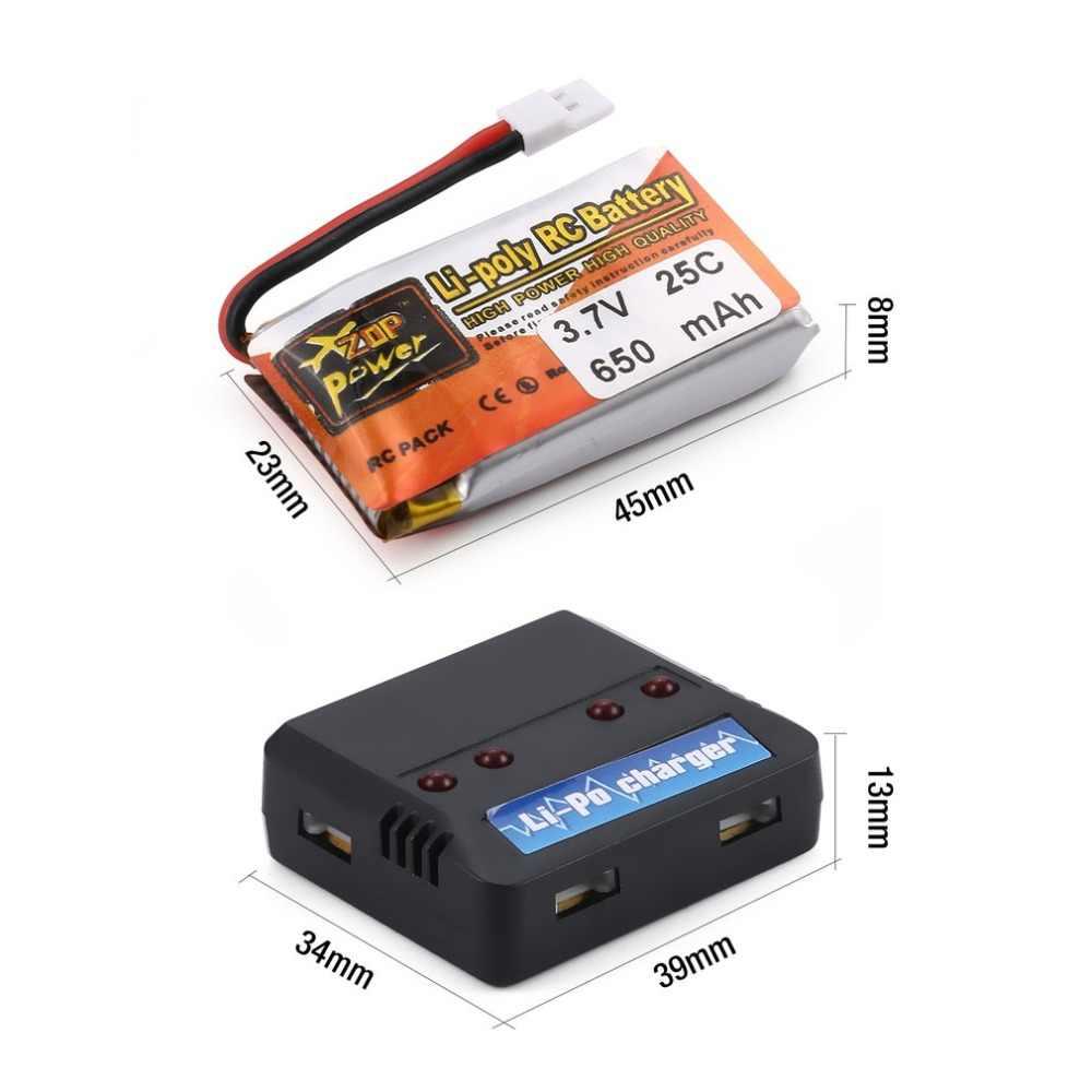 4 pièces ZOP Puissance 3.7V 650mAh 25C 1S Lipo Batterie Rechargeable avec 4 en 1 Batterie Chargeur USB pour RC Drone De Course Voiture D'hélicoptère