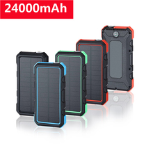 Solar Power Bank 18W 24000mAh Portable Solar Charger QC3.0 Fast Charging Powerbank External Battery Poverbank For Phones Tablets 20000mah solar power bank dual usb powerbank waterproof external battery portable solar battery charger charging with led light
