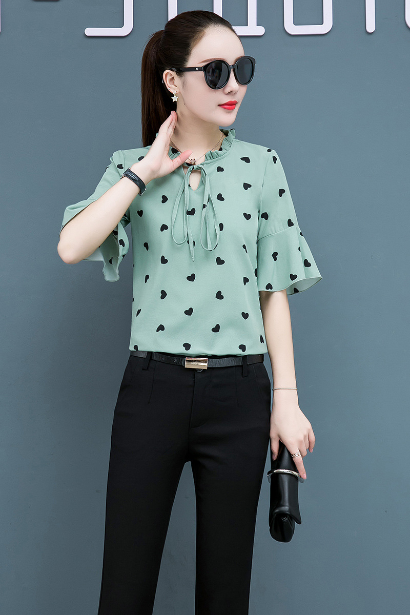 Korean Fashion Chiffon Women Blouses Office Lady Shirt and Blouse Summer Short Sleeve Plus Size XXXL/5XL Women Tops and Blouses