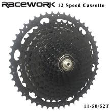 RACEWORK Bicycle Cassette 12 speed MTB Mountain Bike Freewheel 11-50T 11-52T For Shimano M9100 Sram Eagle 12S Black