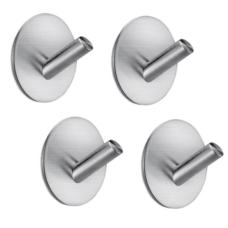 4 Packs Adhesive Hooks Wall Hooks Hanger Bathroom Office Hooks For Hanging Kitchen Bathroom Home Stick On Wall Stainless Hooks & Rails     - title=