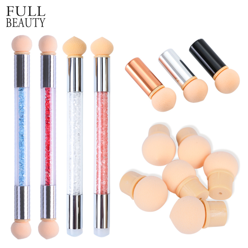 1 Set Gradient Glitter Powder Nail Brush Sponge Double Head Dotting Pen For Colorful UV Gel Painting Brush Manicure Tool CH928