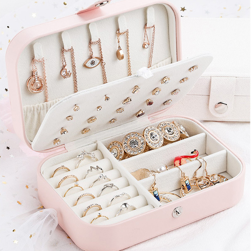 Portable Jewelry Box Travel Multi-function PU Leather Jewelry Storage Box Case Holder Earring Necklace Plate Jewelry Organizer 1
